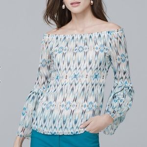 WHBM Printed Off the Shoulder Blouse